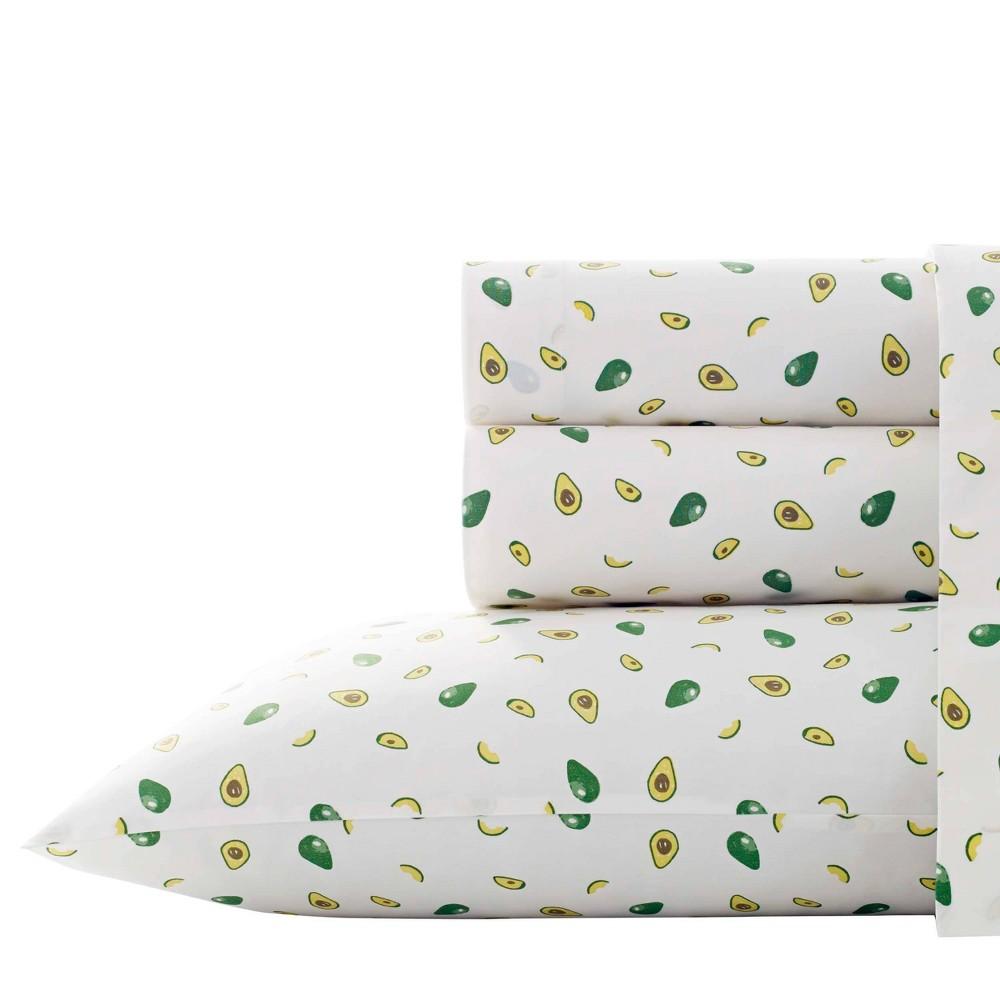 Twin Xl Printed Pattern Percale Cotton Sheet Set Avocado Poppy Fritz