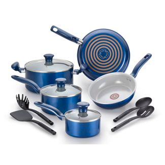 T-fal 12pc Ceramic Cookware Set Blue