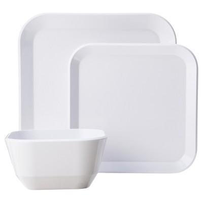 Square Dinnerware Set 12-pc. Melamine White - Room Essentials™