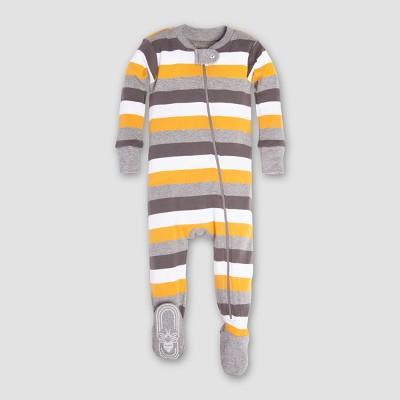 Burt's Bees Baby Boys' Organic Cotton Tri Color Stripe Sleeper - Gray/Blue/Yellow 3-6M