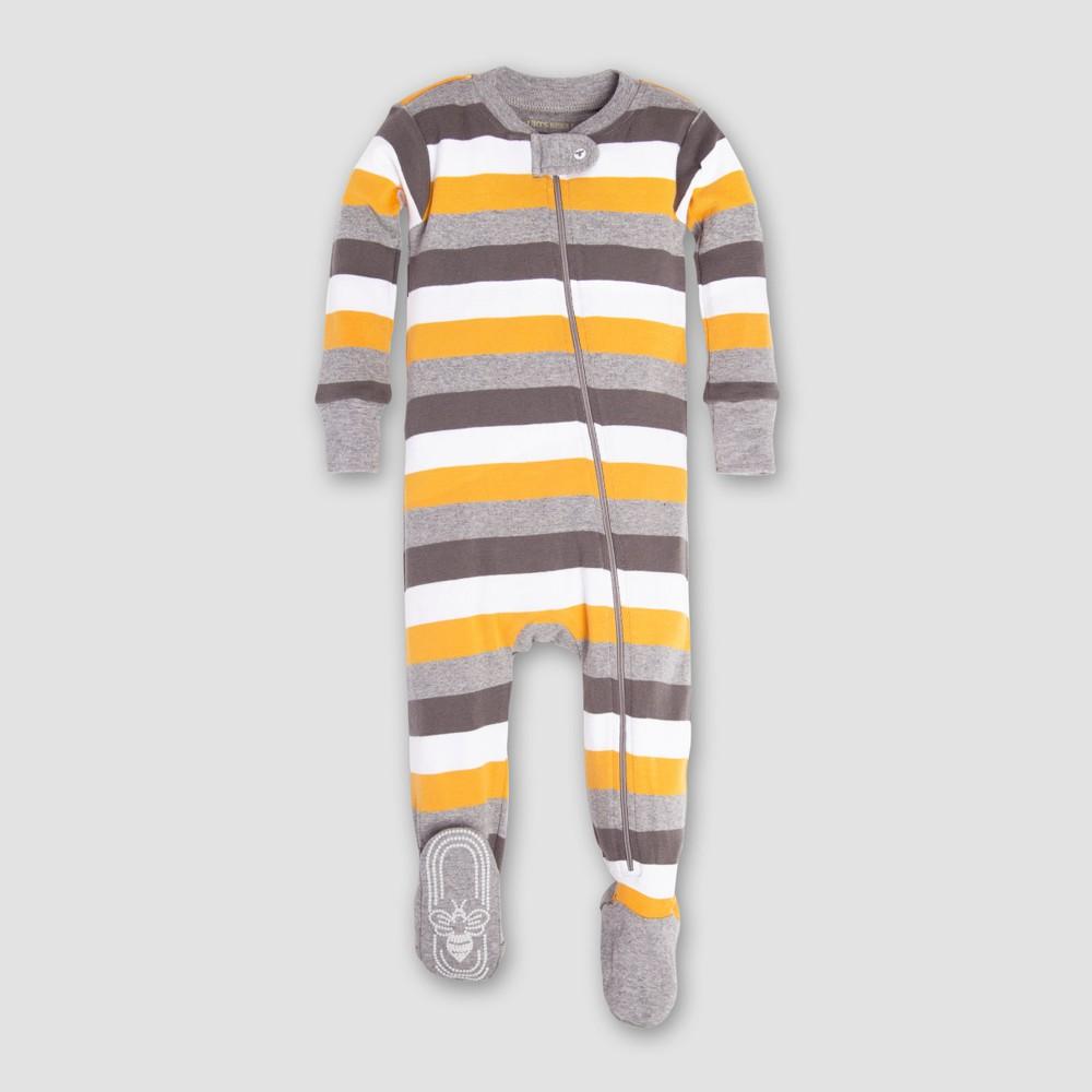 Burt's Bees Baby Boys' Organic Cotton Tri Color Stripe Sleeper - Gray/Blue/Yellow 12M, Blue Gray Yellow