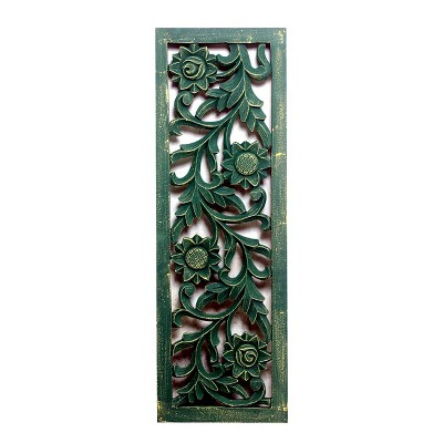 """36""""x12"""" Carved Out Wood Panel Distressed Green - A&B Home"""