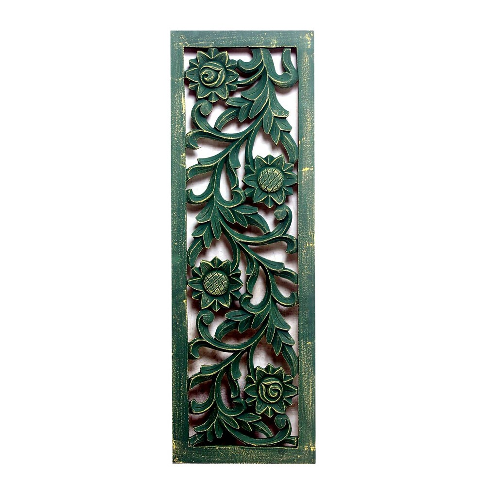 "Image of ""36""""x12"""" Carved Out Wood Panel Distressed Green - A&B Home"""