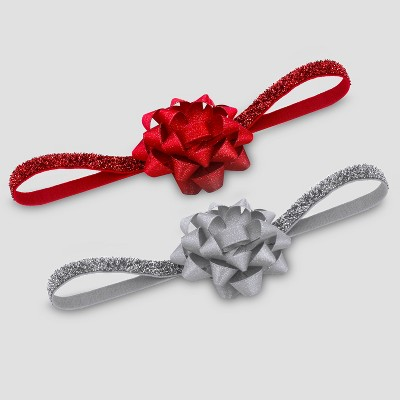 Baby Girls' 2pk Christmas Headwrap - Just One You® made by carter's Red