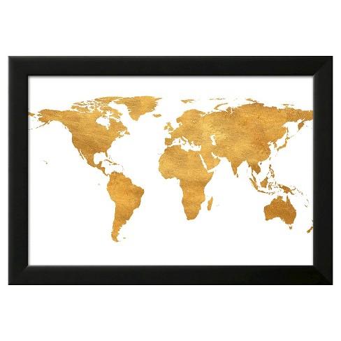 Gold Foil World Map Framed.Gold World Map Gold Foil Framed Art Print Target