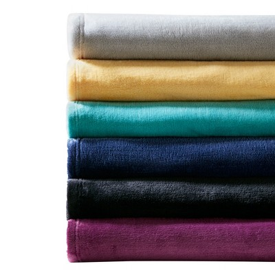 Navy Microlight Plush Brushed Throw Blankets (60 x70 )