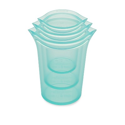 Zip Top Reusable 100% Platinum Silicone Container - 3 Cup Set (S/M/L)- Teal