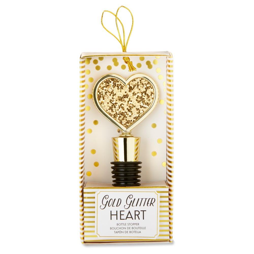 Image of 12ct Gold Glitter Heart Bottle Stopper