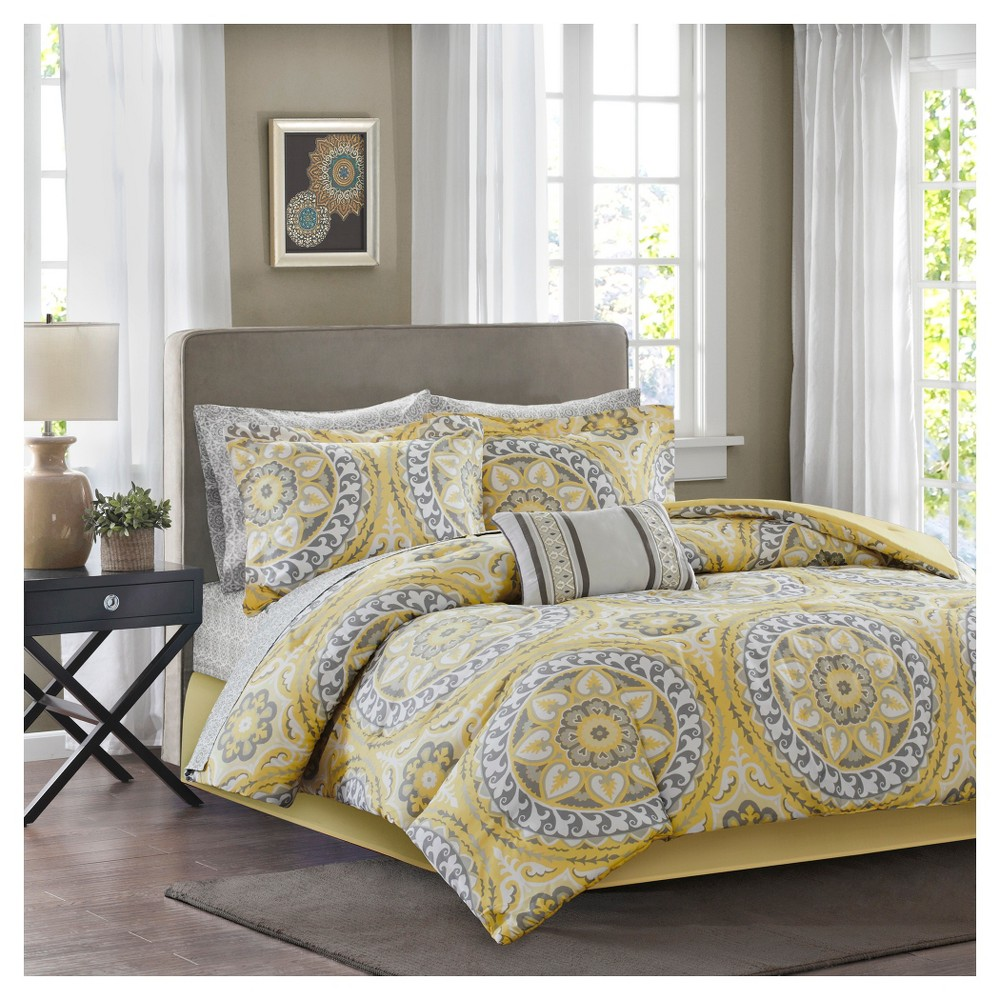 Yellow Nepal Medallion Complete Multiple Piece Comforter Set (California King) - 9 Piece