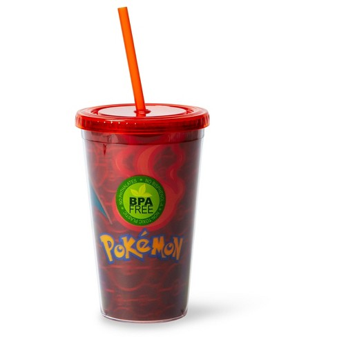 Just Funky Pokémon Charizard Lenticular Plastic Tumbler Cup Lid & Straw | Holds 16 Ounces - image 1 of 4