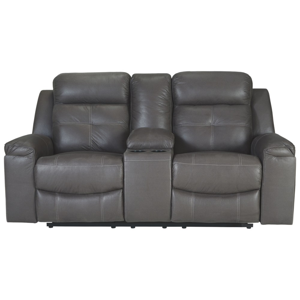 Jesolo Double Reclining Loveseat with Console Gray Heather - Signature Design by Ashley
