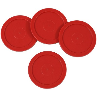 """Sunnydaze Indoor Durable Plastic Large Lightweight Replacement Air Hockey Table Game Pucks - 2.5"""" - Red - 4pk"""
