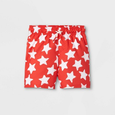Toddler Boys' Star Print Swim Trunks - Cat & Jack™ Red