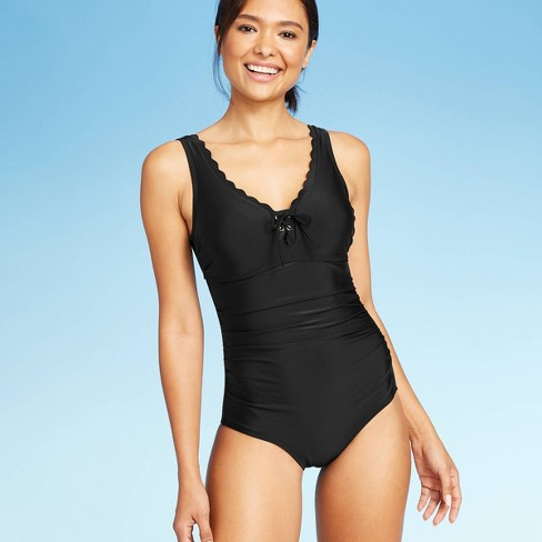 Women's Lace-Up Scallop One Piece Swimsuit - Kona Sol™ - image 1 of 4