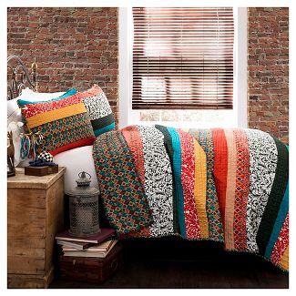 Boho Stripe 3 Piece Set Quilt (Full/Queen) Turquoise/Tangerine - Lush Décor