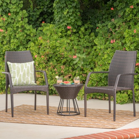 Whitney 3pc Wicker Chat Set - Multibrown - Christopher Knight Home - image 1 of 4