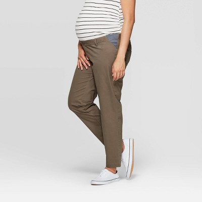 Mid-Rise Side Panel Slim Straight Ankle Maternity Chino Pants - Isabel Maternity by Ingrid & Isabel™
