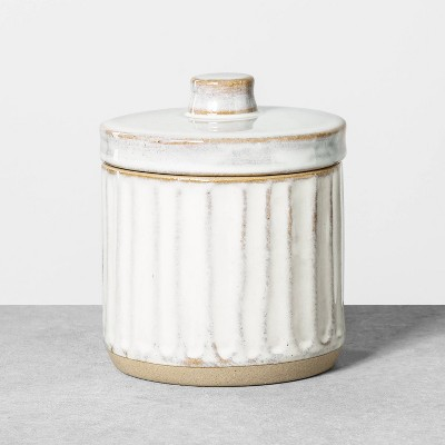 Small Stoneware Bath Canister Reactive Glaze Light Sour Cream - Hearth & Hand™ with Magnolia