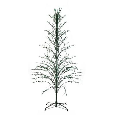 Northlight 9' Black Pre-Lit Artificial Cascade Twig Christmas Tree - Green Lights