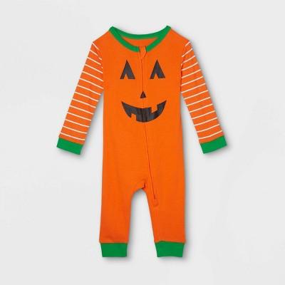 Baby Halloween Pumpkin Matching Family Union Suit - Orange