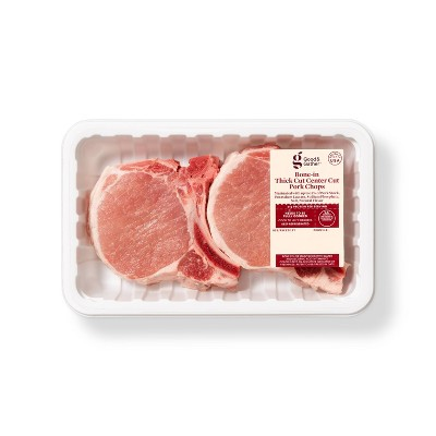 Bone-in Thick Cut Center Cut Pork Chops - 1.2-2 lbs - price per lb - Good & Gather™