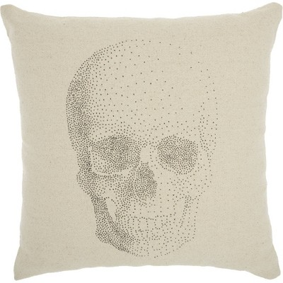 "20""x20"" Oversize Life Styles Printed Skull Square Throw Pillow Natural - Nourison"