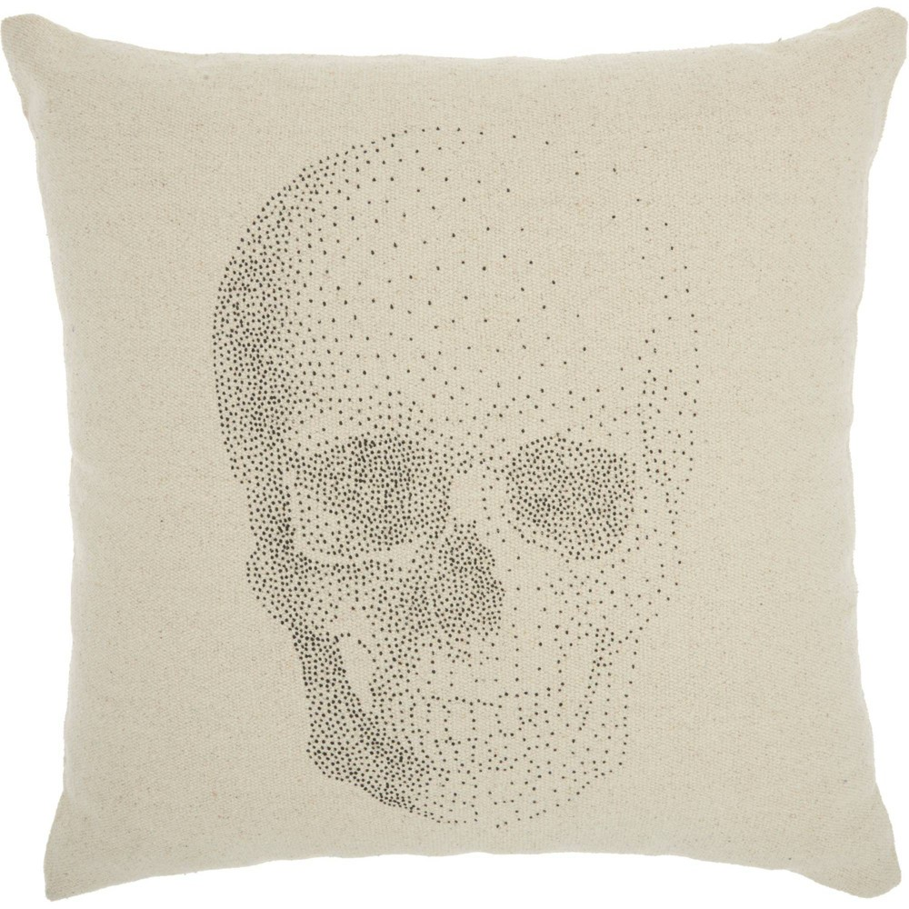Image of Life Styles Printed Skull Oversize Square Throw Pillow Natural - Nourison, Beige