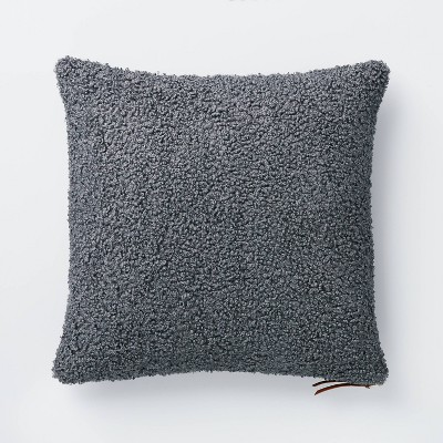 Boucle Square Pillow with Exposed Zipper Blue/Gray - Threshold™ designed with Studio McGee