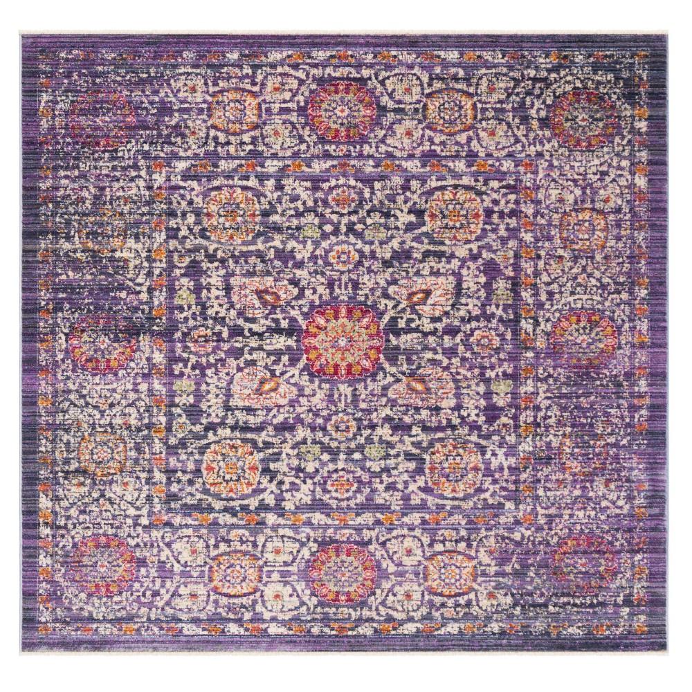 Lavender/Ivory (Purple/Ivory) Medallion Loomed Square Area Rug 6'X6' - Safavieh