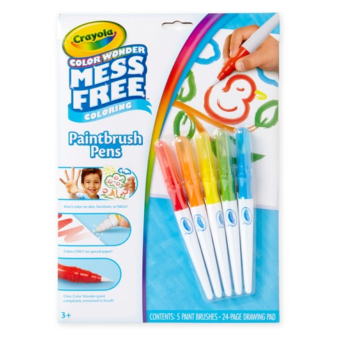 Crayola 6pc Color Wonder Mess Free Paintbrush Pens Paint Set