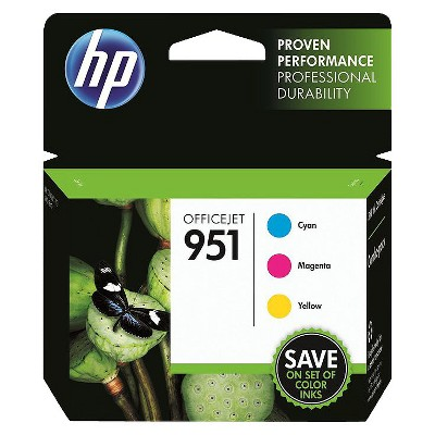 HP 951 Officejet C/M/Y 3pk Ink Cartridge - Cyan, Magenta, Yellow CN056AN#140