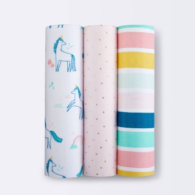 Muslin Swaddle Blankets Unicorn - 3pk - Cloud Island™