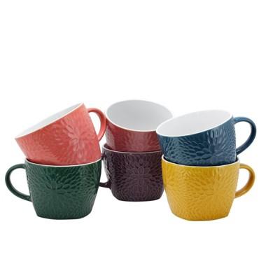 18oz 6pk Stoneware Rainbow Petal Mugs - Elama