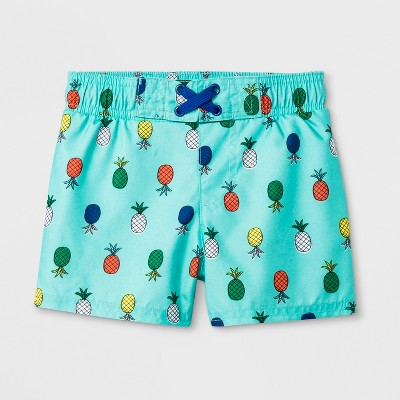 Baby Boys' Pineapple Print Swim Trunks - Cat & Jack™ Aqua 12M