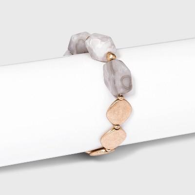 Semi-Precious and Gold Discs Stretch Bracelet - Universal Thread™