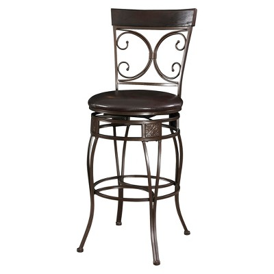 "30"" Nora Big and Tall Scroll Back Barstool Metal/Black - Powell Company"