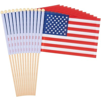 Juvale 12 Piece US American Stick Flag, Handheld United State National Banner for Party Decor, Parades, Festival, 5.5 x 8.3 in