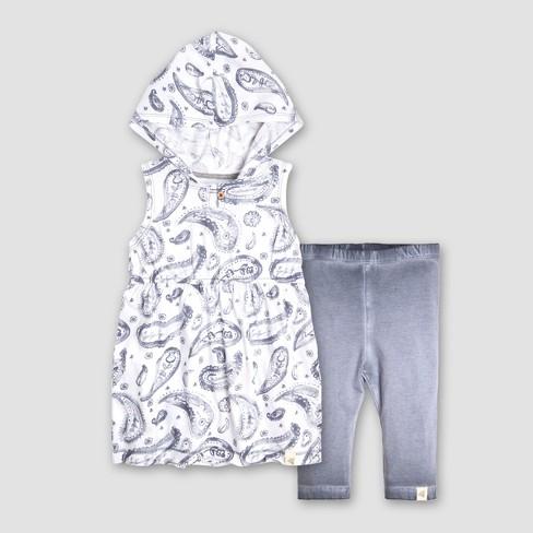 1ed5543805ac7 Burt's Bees Baby® Toddler Girls' Hooded Tunic and Capri Leggings Set - Blue