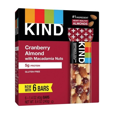 KIND Cranberry Almond with Macadamia Nuts Bars - 8.4oz/6ct