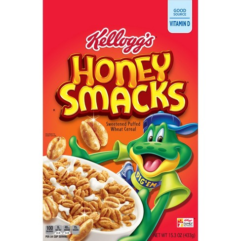 Honey Smacks Sweetened Puffed Wheat Breakfast Cereal - 15.3oz - Kellogg's - image 1 of 4