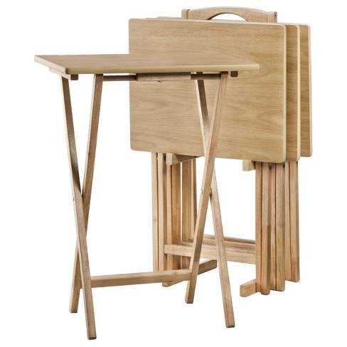 5pc Tv Tray Set Wood Natural Plastic Dev Group Target