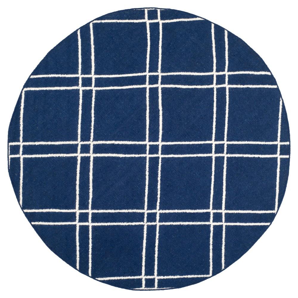 Dhurries Rug - Navy/Ivory (Blue/Ivory) - (6'x6' Round) - Safavieh