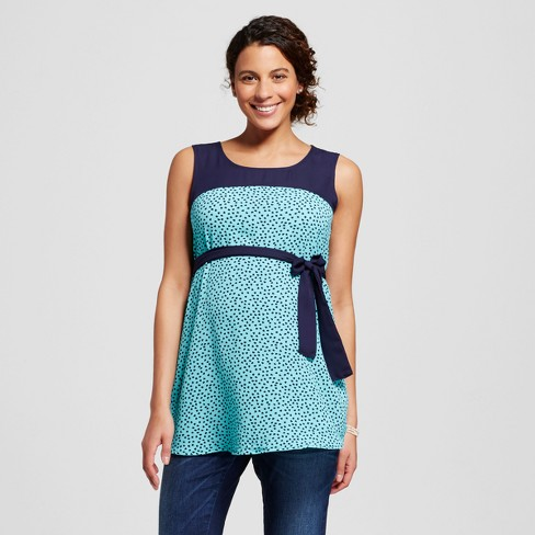 Maternity Polka Dot Print Belted Sleeveless Top Blue - MaCherie - image 1 of 2
