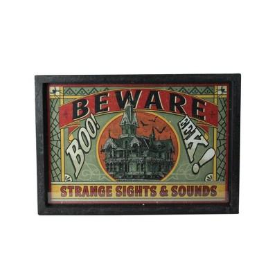 "Raz Imports 16"" Halloween Stamped ""Beware"" Metal Wall Art - Orange/Green"