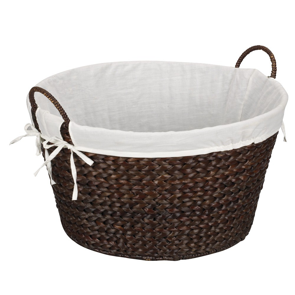 Image of Banana Leaf Laundry Basket - Dark Brown, Natural