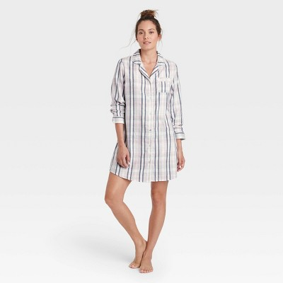 Women's Perfectly Cozy Plaid Flannel Nightgown - Stars Above™ Gray