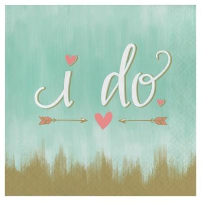 "16ct Mint To Be Bridal Shower Napkins - ""I Do"""