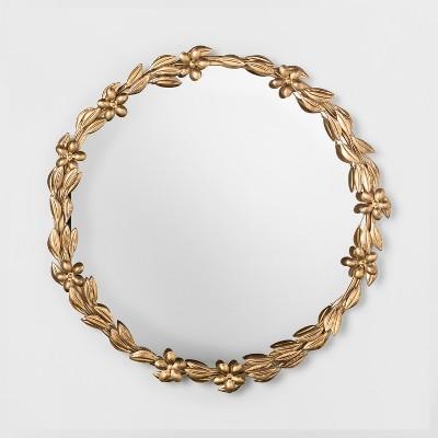 Decorative Round Leaf Wall Mirror Gold - Opalhouse™