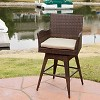 Braxton Wicker Swivel Patio Bar Stool with Cushion - Multi-Brown - Christopher Knight Home - image 4 of 4