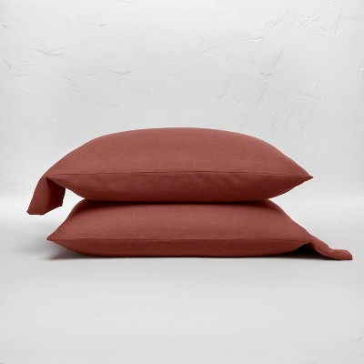 King 100% Linen Solid Pillowcase Set Clay - Casaluna™